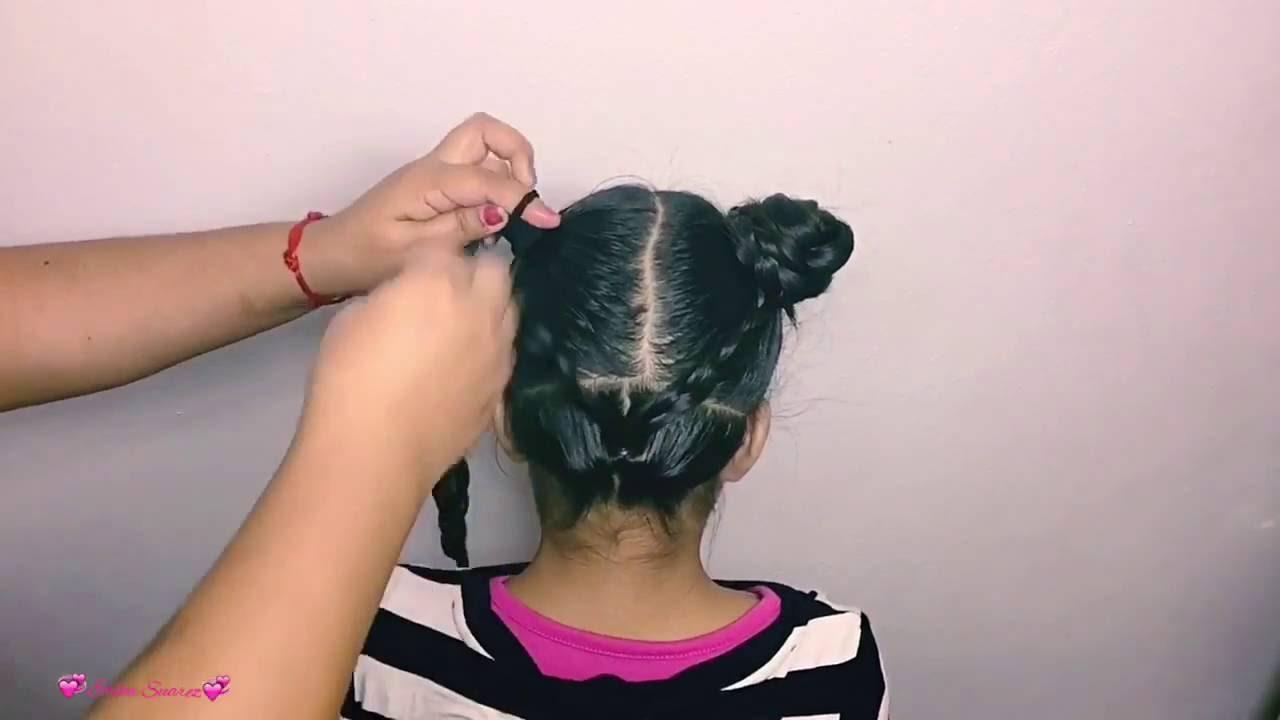 Peinados de 2 chongos con trenzas