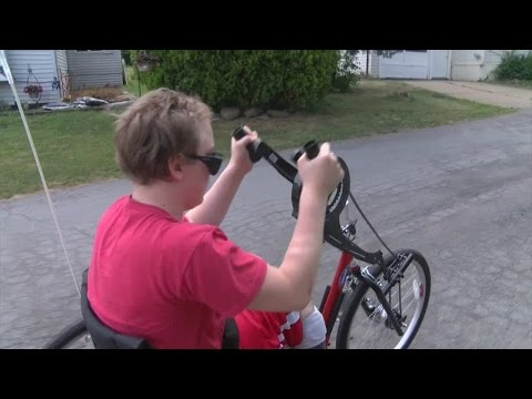 News 4 at 4Special hand cycle bicycle allows Hamburg boy with cerebral palsy to ride using his arms