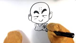 How to Draw Dragonball Z - Chibi Krillin - Easy Pictures to Draw