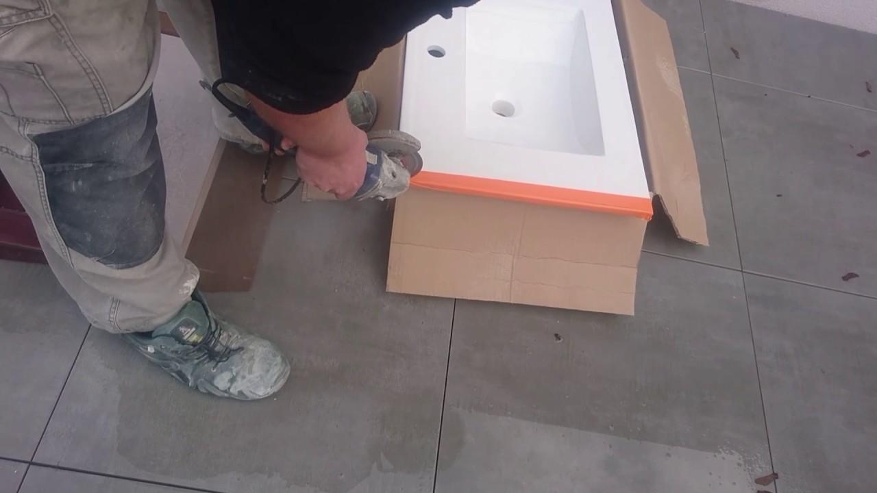 Plan Vasque En Pierre découpe plan vasque ceramique - youtube