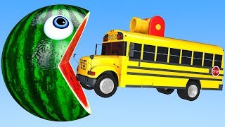 Learn Colors with PACMAN and Farm School Bus Watermelon Surprise Toy Street Vehicle for Kid