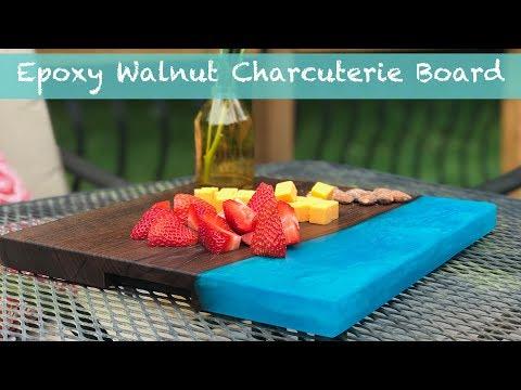 Teal Epoxy and Walnut Charcuterie Board