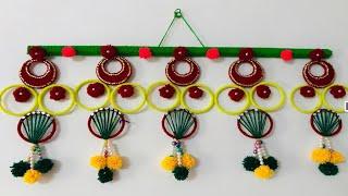 DIY simple Toran from wool/ woollen toran for home/ home decor/ toran / wool craft/ woollen flower