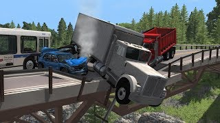 Collapsing Bridge Pileup Crashes 6 | BeamNG.drive