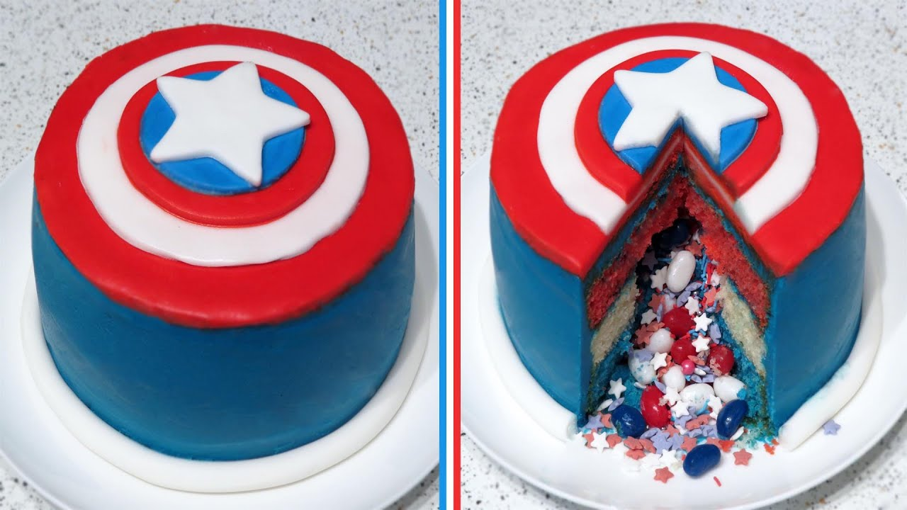 Captain America Surprise InsidePinata Cake Recipe CupcakeGirl