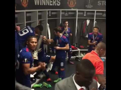 Manchester United Dressing Room Celebrations After Europa League Final 2017