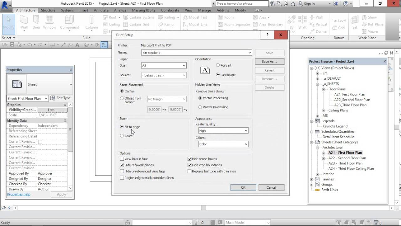 how to install pdf printer in revit