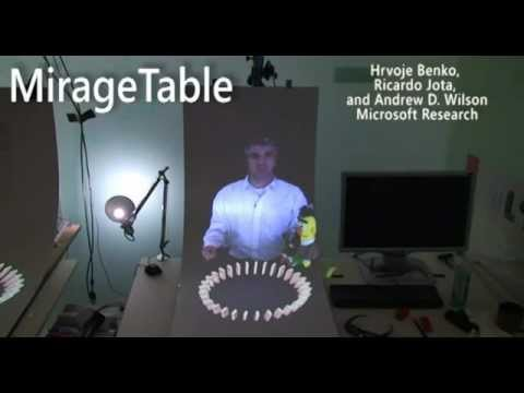 MirageTable Teaser: Freehand Interaction on a Projected Augmented Reality Tabletop