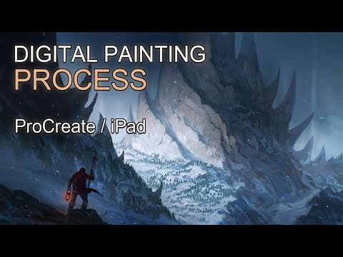 "Procreate 5 Digital Painting Process – ""Peaks"" – Fantasy Landscape"