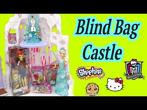 Queen Elsa's Blind Bag Castle With Surprise Toys From Shopkins Season 2, Monster High + More