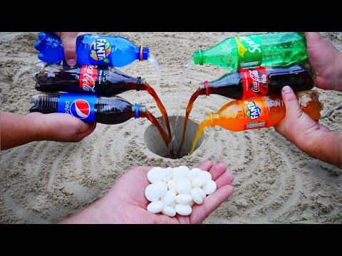 Experiment: Coca Cola, Fanta, Sprite, Pepsi vs Mentos Underground. Super Reaction!