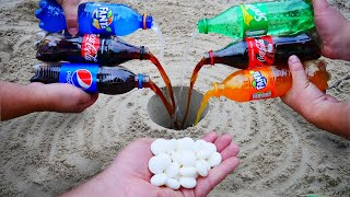 Experiment: Coca Cola, Fanta, Sprite, Pepsi vs Mentos Underground. Super Reaction!