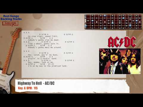 Highway To Hell - AC/DC Guitar Backing Track with chords and lyrics