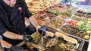 Huge Superloaded Sandwiches with Juicy Sausages. Italy Street Food from Sicily
