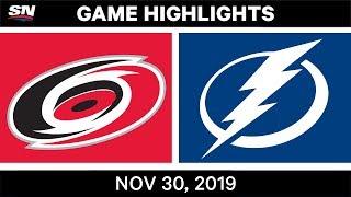 NHL Highlights   Hurricanes vs. Lightning – Nov. 30, 2019