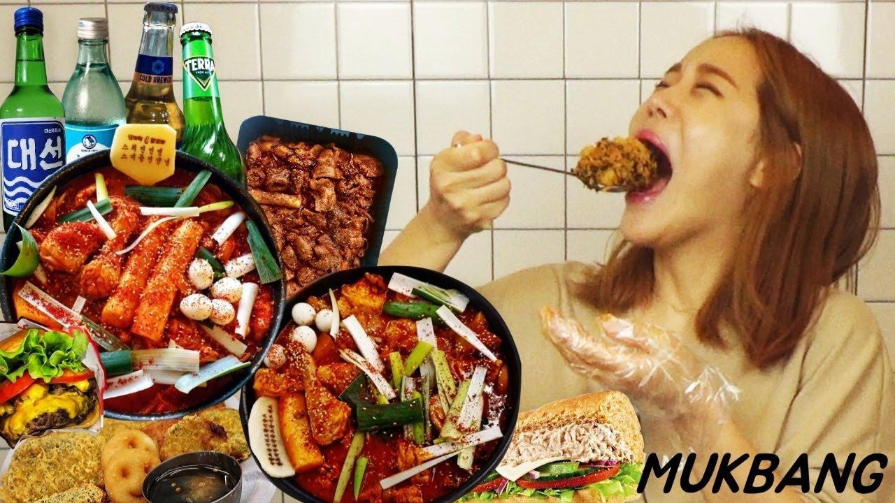 SUB) 닭볶음탕 먹으러 부산으로 당일치기 (술과함께) 닭볶음탕 곱도리탕 우동쫄면사리 볶음밥 똥집 모듬튀김 햄버거 막창 먹방 MUKBANG ASMR yummy eating show