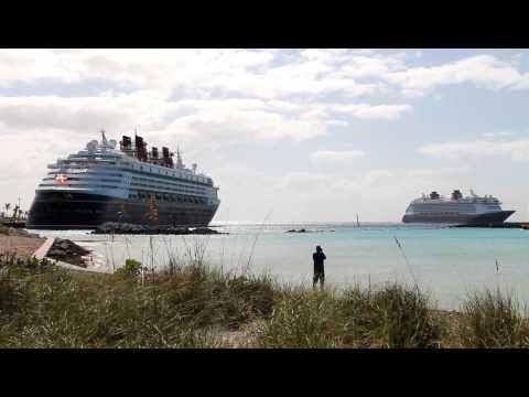 Disney Magic vs. Disney Dream Horn Battle at Castaway Cay