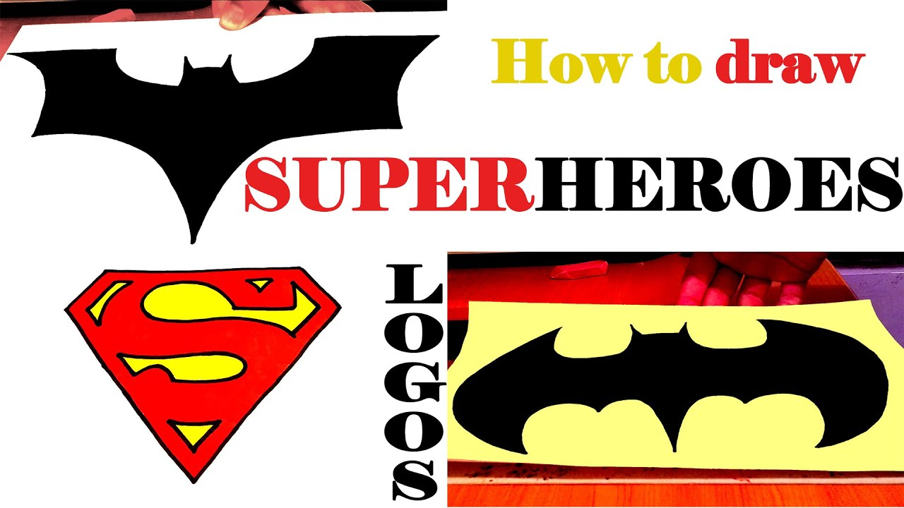 How to draw batman easy drawingnow - How To Draw Superheroes Logos For Beginners Step By Step Easy On Paper Batman Superman Logo Youtube