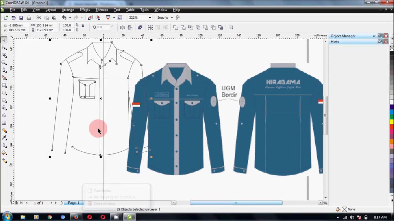 Desain Baju Pdl Dengan Corel Draw X4 Youtube