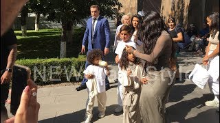 Kim Kardashian is taking photos with her fans in Etchmiadzin after baptizing children
