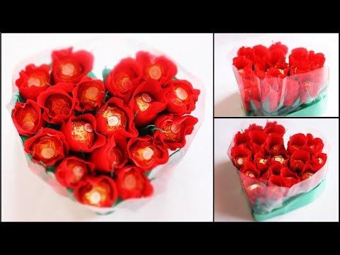 heart-shape-chocolate-bouquet-making-|-valentine's-day-gift-idea-|-diy-rose-bouquet