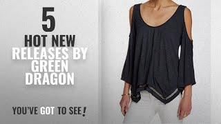 Hot New Green Dragon Women Clothing [2018]: Green Dragon Women Medium V-Neck Cold-Shoulder Knit Top