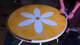 Spray Painted Daisy Outdoor Tea Table