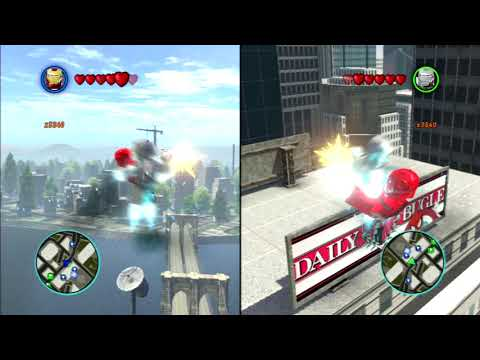 Iron Man vs. War Machine above the Daily Bugle in Lego Marvel Superheroes