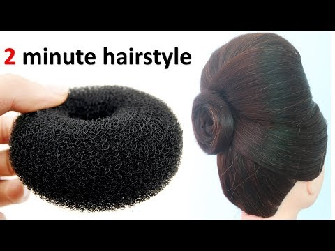 2 minute hairstyle with donut   elegant updo   simple hairstyle   updo hairstyle   prom hairstyle thumbnail