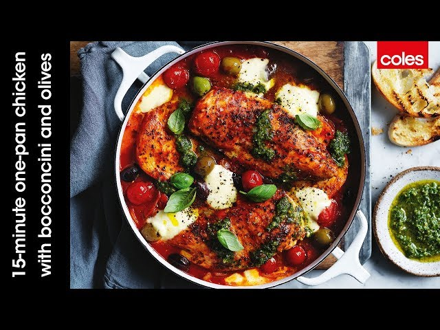 15 Minute One Pan Chicken With Bocconcini And Olives