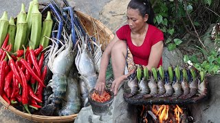 Awesome Seafood Yummy - Grilled Lobster Okra on The Rock with Chili Sauce - Food my village Ep 59