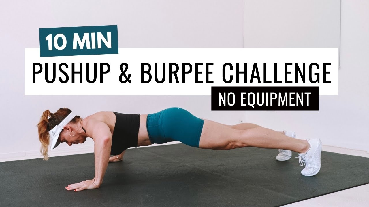 10 MIN PUSHUP & BURPEE CHALLENGE | No Equipment Cardio Burner HIIT🔥Burn 55 Calories🔥