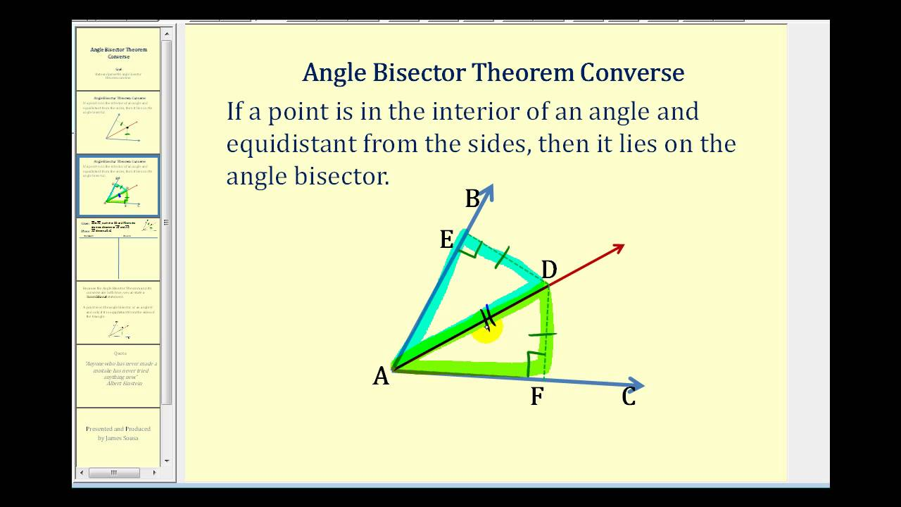 proof the angle bisector theorem converse youtube
