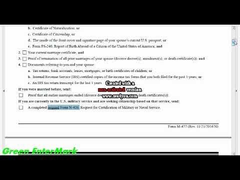 Uscis Form N 400 Documents Checklist Youtube