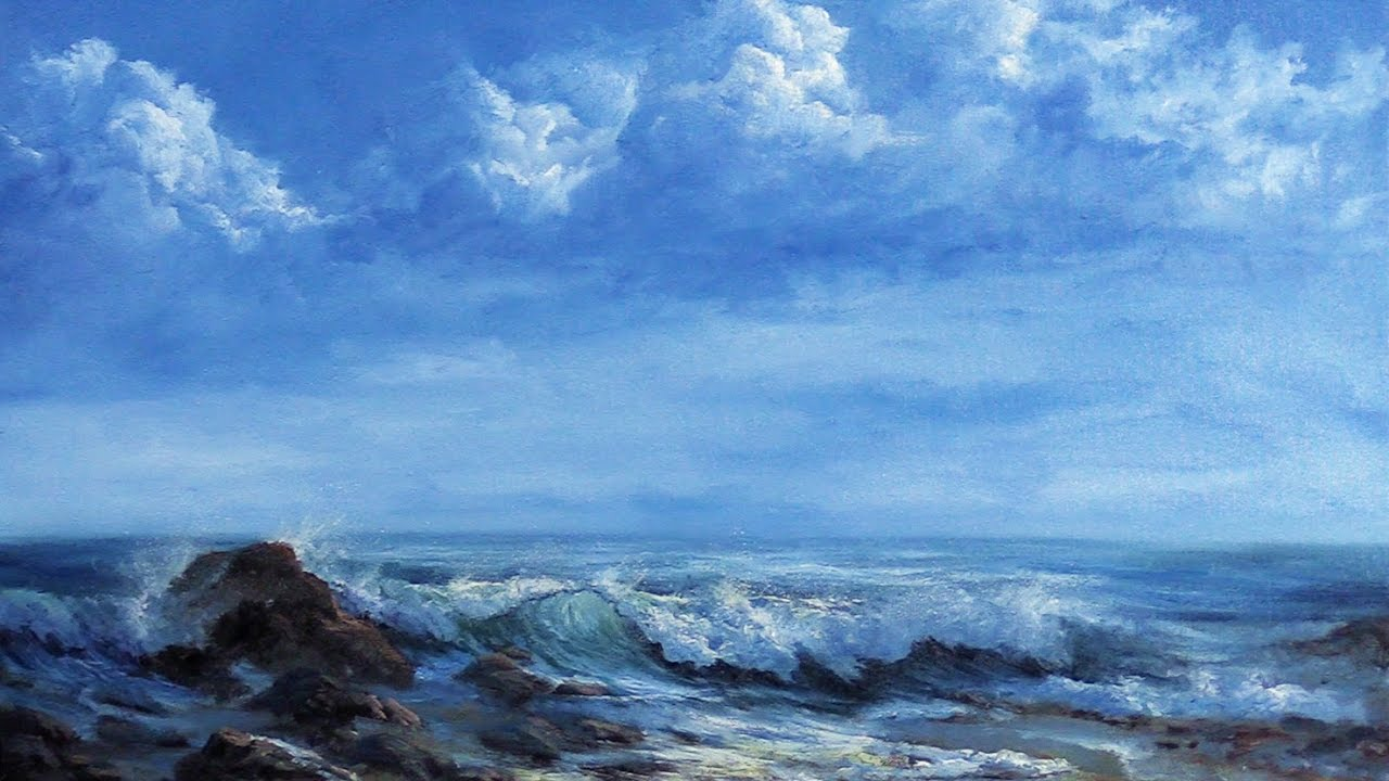 storm clouds u0026 crashing wave oil painting - Oil Painting