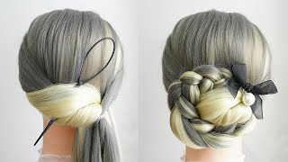 Easy Updo Hairstyles For Long Hair Low Bun Hairstyle With Braids New Hairstyle For Wedding