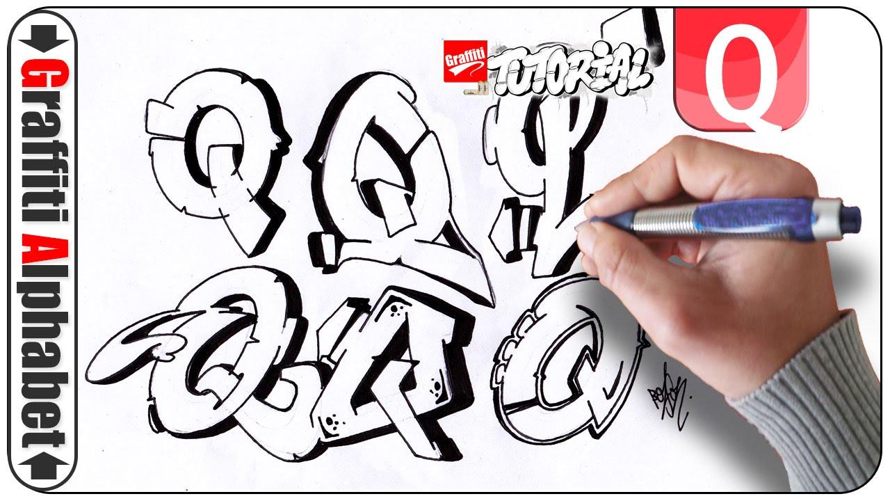 Graffiti alphabet buchstabe q letra q letter q youtube
