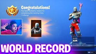 (WORLD RECORD) Unlocking the WEEK 7 HUNTING PARTY A.I.M SKIN the Fastest in Fortnite Battle Royale