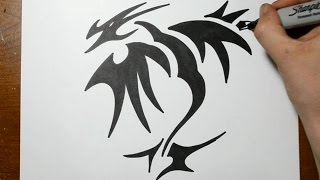 How to Draw a Tribal Dragon Tattoo Design - Sketch 2