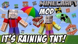 """Это Raining TNT! Майк и папа играть Minecraft """"слишком много"""" TNT Mod"""