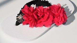 {DIY} Sequin and Flower Flip Flops