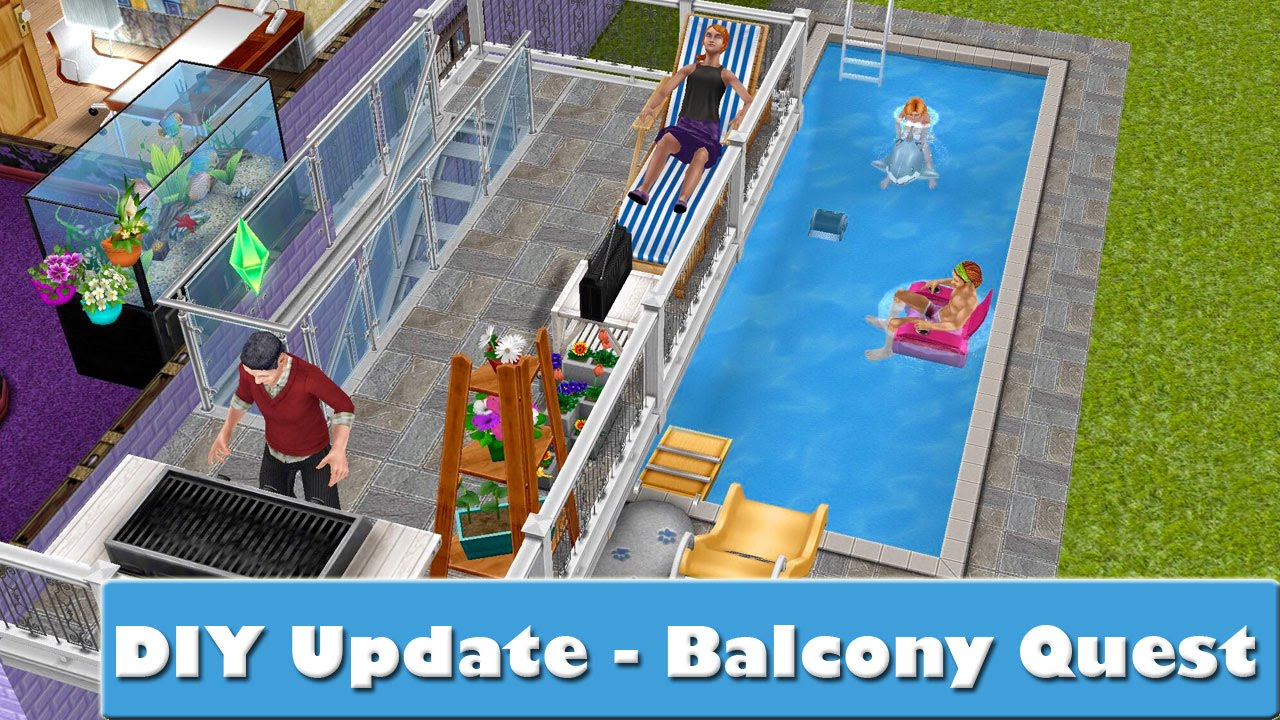Sims freeplay diy update balcony quest youtube for Sims 4 balcony