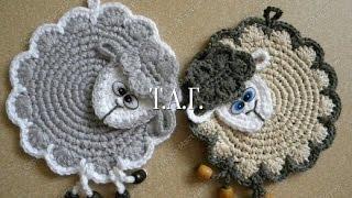"""Прихватка крючком """"Овечка"""". Crochet potholder """"lamb"""" tutotial"""