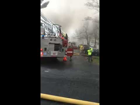 Watch firefighters battle large fire on Mountain Road in Princeton