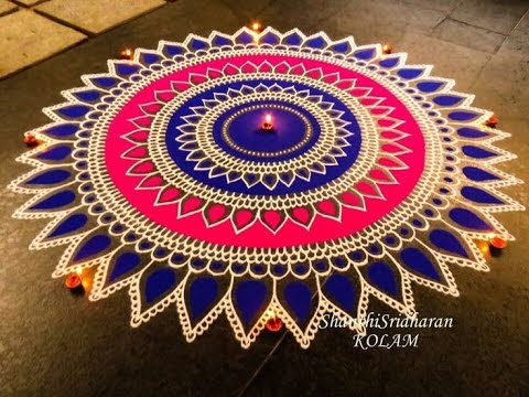 Latest Simple, Easy and Quick Rangoli design with colours thumbnail