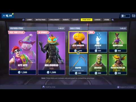 Fortnite Battle Royale Item Shop Live Update Countdown October 31 - November 1
