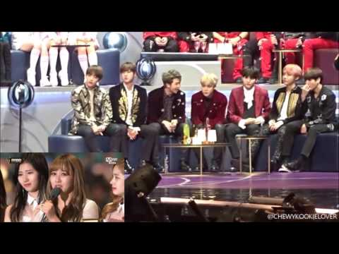 161202 MAMA BTS reaction to Twice (Song of the Year) Ver.1