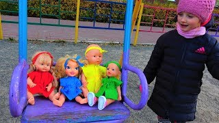 Baby Born Dolls & funny Baby Playing on the Playground Rhymes for kids