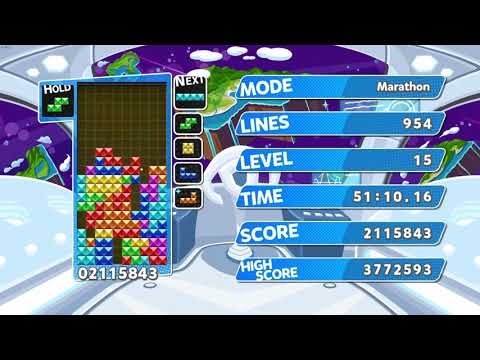 Tetris 1.5 Hour Game - Puyo Puyo Tetris - Game Mode: Endless Marathon |
