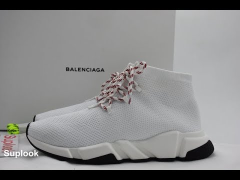 ae2a21eef909 BALENCIAGA Speed Lace-Up Knit Trainer White Review - YouTube